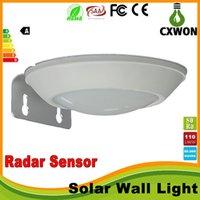 Wholesale Waterproof led solar lights IP65 V solar outdoor lights garden wall lampsenergy saving W Mocrowave radar sensor solar lamps leds