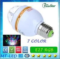 Wholesale good price x3pcs W E27 RGB lighting Full Color LED Crystal Stage Light Auto Rotating Stage Effect DJ lamp mini Stage Light