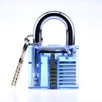 Wholesale DHL Blue color transparent cutaway practice lock Padlock Bag Lock