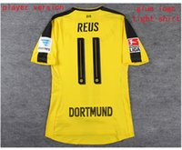 Wholesale 16 dortmund home player version shirt dortmund yellow REUS AUBAMEYANG KAGAWA player version soccer jersey shirt with league patch