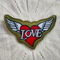 baby biker vest - military Wings Red Heart Angel Love Biker Motorcycle Rider Vest Sew On Patch Shirt Trousers Vest Coat Skirt Bag Kids Gift Baby Decoration