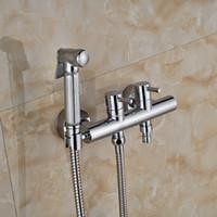 Wholesale new Chrome Brass Handheld Bathroom Bidet Shower Faucet Wall Mount Dual Handles Washing Machine Taps