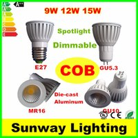 aluminum spot light - New Die cast Aluminum LED Bulbs GU10 GU5 MR16 E27 COB LED Light Dimmable Led W W W Spot lights v v v