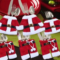 Wholesale Christmas decorations Santa Claus Tableware Silverware Suit Christmas Dinner Party Decor set quot cloth quot pants sets freeshippping