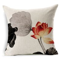 ancient black chinese - Chinese Ink Painted Lotus Pillow Case Restore Ancient Ways Flower Cushion Cover Linen Cotton Chinese Style Pillow Cover