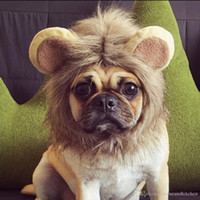 Wholesale 2016 Hot Styles Pet Costume Cat Halloween Lion Head Hat Lion Mane Wig Pet headgear cap Cosplay Dress Funny Cute hat