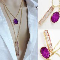 bezel necklace white gold - Light Weight New Summer Style Amethyst Quartz Gold Bezel Faux Druzy Plastic Pendant Multi Layer Necklace Gold for Women