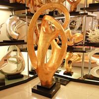 abstract sculpture art - Golden Resin craft fiberglass steel abstract sculpture ornaments imitation copper artwork landing crafts Club Hotel decor