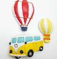 air fridge - Bus And Hot Air Balloon Realistic Resin Stereo Fridges Magnets Cute Flexible Fridge Magnets Gift Toys New Designed