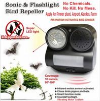 Envío gratis !!! PIR Sensor Aves Repeller Jardín Sonido Flaslight Animal Expeller Su mejor opción no afecta a personas o mascotas