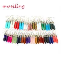 Wholesale Long Earrings Drop Natural Gem Stone Dangling Earrings Hexagon Prism Green Earrings European Fashion Jewelry For Women X Mix Order