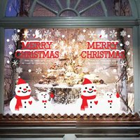 Wholesale 2016 New creative home decor new snowman christmas wall stickers window glass background decorative wall decal