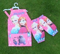 Wholesale Frozen ELSA ANNA princess Kids Childrens Cartoon and lovely Smock Apron Set Sleeveless Aprons and Oversleeves Cute Pink Blue