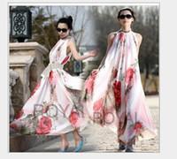 2016 Mode Femmes Robe Eté Bohême longue Maxi robe de soirée Fête Robe imprimé mousseline sans manches Cheap Casual Dress Livraison gratuite