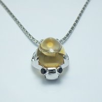 Cheap New fashion jewelry S925 sterling silver necklace natural Citrine Pendant Jewelry Gift on his girlfriend beetle