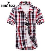 Wholesale Men s Plaid Shirt Typical Summer Hot Selling Short sleeve Beach Shirts Vintage Breathable Colors Asian Size Shirt MCS523