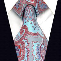 al por mayor marca de fábrica de seda de la corbata-A22 Azure Red Abstract Tie lazos tejidos jacquard de seda masculina tejida de la manera de la boda de la manera de la corbata para los hombres a estrenar