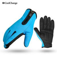 Wholesale CoolChange bike gloves full finger slip damping can touch screen plus velvet warm mountain bicycle gloves long finger
