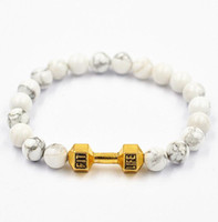 barbells sale - hot sale Alloy Metal Barbell with mm white Howlite beads Fitness Life fit Prayer Dumbbell charm Bracelets