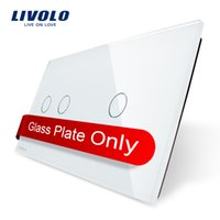 Wholesale wall switch DIY Livolo Luxury White Pearl Crystal Glass mm mm EU standard Double Glass Panel VL C7 C2 C1