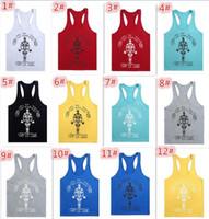 Wholesale 5pcs colors Cotton Gymshark Tanks Men Brand Muscle Tank Top Gym Gold s Fitness Clothes Men Bodybuilding Vest Undershirt D665