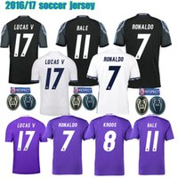 Wholesale 2016 Champions league Real Football Shirts Ronaldo Madrides camisetas de futbol Modric Kroos Sergio Ramos Bale LUCAS V running Jerseys