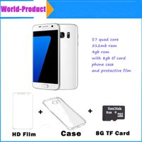 Wholesale 5 s7 quad core MTK6580 show fake octa core with mb gb gb g show fake G LTE goophone s7 andriod plastic unlocked smartphone