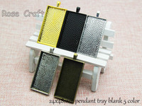 Wholesale 24x48mm Rectangle Blank Cameo Cabochon Base Setting Pendants Blank Pendant Trays Sold Per