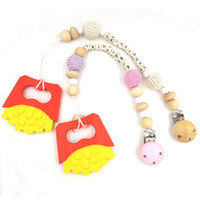 Wholesale set of personalized baby pacifier clip silicone potato chips BPA FREE food grade wood beads dummy chain shower gift NT182