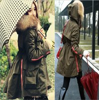 Wholesale Soperwillton New Winter Coats Women Jackets Real Large Raccoon Fur Collar Thick Women s Outerwear Ladies Parkas Army Green ropa mujer