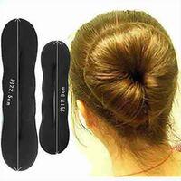Wholesale 2016 New U Pick Foam Black Magic Korean Sponge human Hair Hairdisk disk Quick Messy Styling Bun headwear Maker Twist Curler device Tool L S