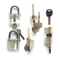 Wholesale used locksmith tools Clear Acrylic pieces transparent padlock for lock picking practice closed and with the key inserted