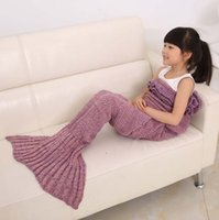Wholesale 1PC Kids Crochet Mermaid Blankets Handmade Mermaid Tail Blankets Mermaid Tail Sleeping Bag Knit Sofa Nap Blankets Costume Cocoon cm
