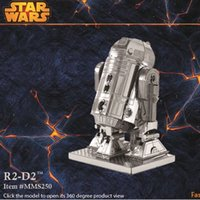 Wholesale 100PCS R2D2 DIY D Models Star wars Kits Metallic Nano Puzzle no glue required For adult Chirstmas gift Free DHL FedEx