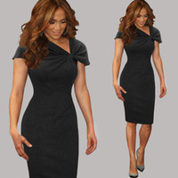 Wholesale Women Elegant Vintage Pinup Bow Ruched Tunic Business Casual Wear To Work Party Stretch Bodycon Pencil Sheath Dress