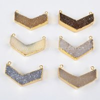 acc jewelry - Fashion Boomerang Shape Multi Color Natural Druzy Stone Pendant Connector Charm with Double Bails for Jewelry Acc G0610