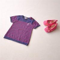 Wholesale fashion children Angola cashmere knit short sleeve stripe thin girl child bottoming shirt sweater