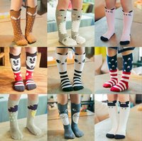 Wholesale 20 Design Kids Baby girls INS fox socks stockings Free DHL children cartoon bear knee high leggings baby chevron leg warmers cotton socks