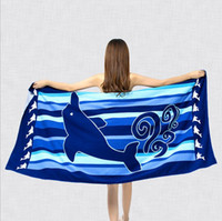 adult swim body - Body Towel Cute Style Microfiber Fabric Dolphin Beach Towel Quick Dry Bath Towel Fitness Beach Swim Camping x150cm multiple styles fashion