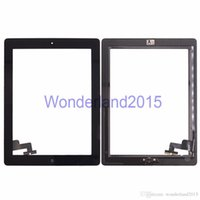 Wholesale 50 free DHL shipping touch screen assembly digitizer panel glass with home button and M adhesive sticker for ipad