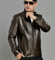 big mens leather coats - Fall Brown autumn thin stand collar new design PU leather jacket fashion casual mens faux leather jackets and coats big size XL XL