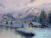 Стена искусства, Олимпийский горный вечер Томас Кинкейд, декоративные картины, ручной работы, высокое качество