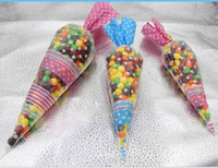Wholesale 17 cm Polka Dot Cello Cellophane Cone Shaped Sweet Candy Treat Display Favor Gift Wedding Birthday Baby Shower Party Decoration Bags