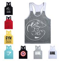Wholesale DHL Gym Shark Mens Tank Tops Stringer Bodybuilding Equipment Fitness Men s GYM Tanks Sports Clothes Gymshark Vest