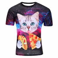 Wholesale mens t shirts fashion latest pizza cat d printing kinds new style camiseta hombre manga corta tee shirt homme
