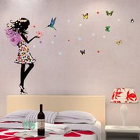 beautiful bedroom design - Romantic Cartoon Angel Wings Flower Fairy Beautiful Girl Butterfly DIY Wall Stickers Mural Decal Kids Room Home Decor