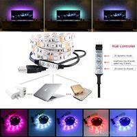 bias lighting - LED Stripe V Multi colored RGB Strip Light Bias Lighting LED Flat TV Background Lights Kit Cuttable with USB Cable V LEDs per Meter