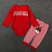Cheap My First Christmas Infant Baby Girls Clothes Cute Animal Striped Printed Baby Coming Home Outfit Christmas Newborn Bodysuit set