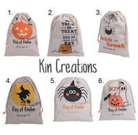 bag or sack - 50pcs DHL New Halloween Sacks Bag Canvas Personalized Children Candy Gifts Bag Pumpkin Spider treat or trick Drawstring Bags