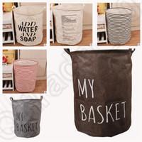 Wholesale 6 color KKA93 LARGE Storage Laundry Hamper Clothes Basket Storage Useful ZAKKA Cotton Linen Children Toy Bucket Bin